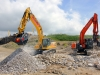 Komatsu excavator and Hitachi Zaxis excavators. Recycling demo area, Hillhead.