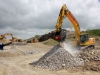 Komatsu excavator. Recycling demo area, Hillhead.