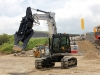 JCB excavator with pincer attachment. Hillhead exhibition