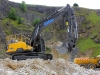 Volvo excavator. Rock processing demo area, Hillhead.