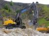 Volvo excavator. Rock processing demo area, Hillhead.