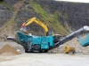Powerscreen jaw crusher. Rock processing demo area, Hillhead.