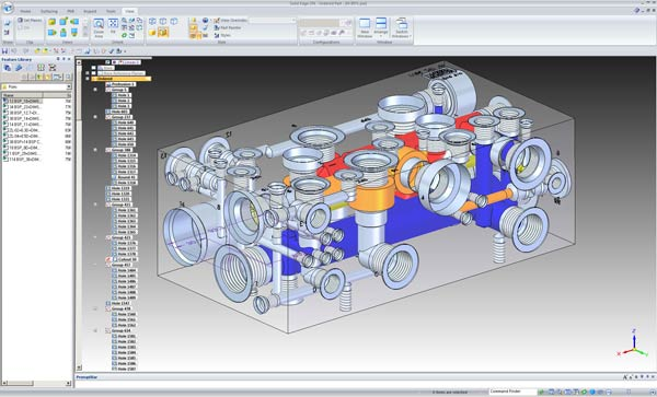 Screenshot showing SolidEdge 2D 3D CAD software