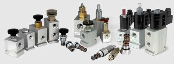 Hydraulic cartridge valves and line bodies