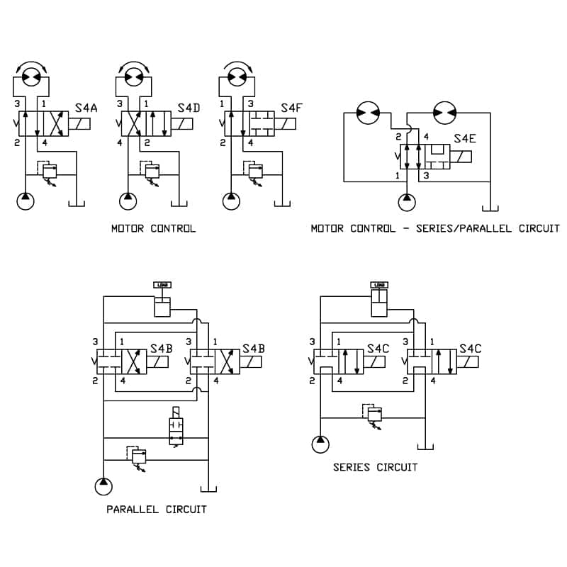 4 Way 2 Position Spool valve circuit