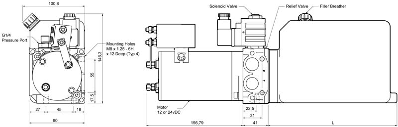 Hydraulic power pack drawing